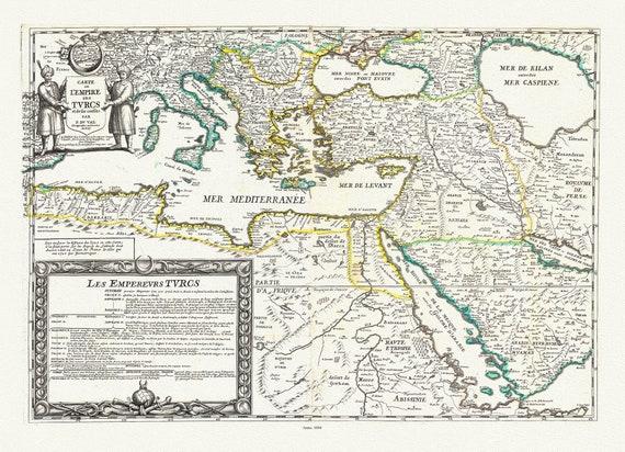 """Turkey: Carte de l'Empire des Turcs et de ses confins, 1604, Du Val auth., map on heavy cotton canvas, 20 x 25"""" approx."""