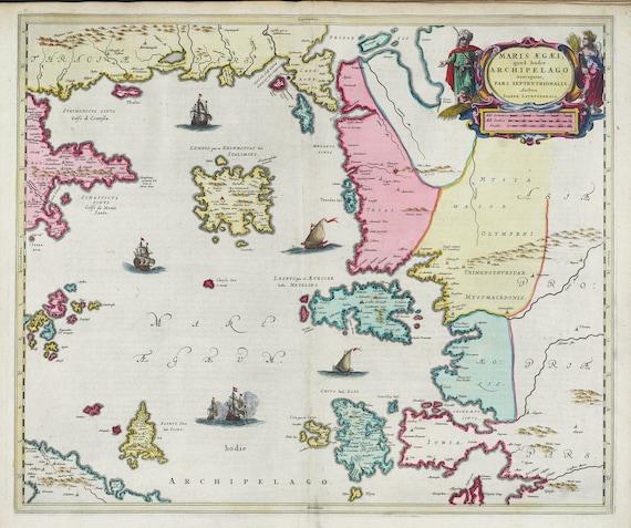 Mediterranean, Graecia, Maris Aegaei, Agean Sea,1665, Bleau auth., map on heavy cotton canvas, 50 x 70 cm