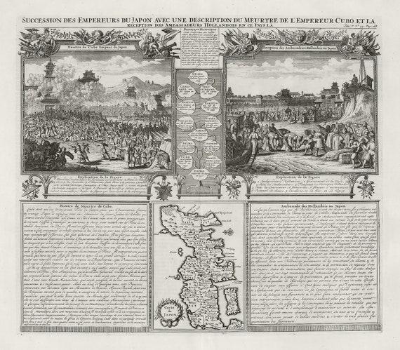 """Japan: Succession des empereurs du Japon. 1718 , map on heavy cotton canvas, 50x70cm (20 x 25"""") approx."""