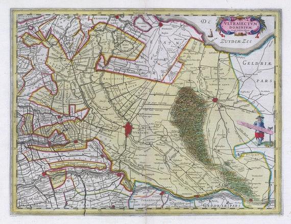 Low Countries, Vltraiectvm Dominivm,1665, Blaeu auth., map on heavy cotton canvas, 50 x 70 cm