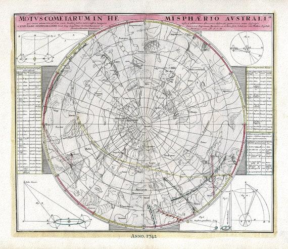 "Motus Cometarum Hemisphaerio Australi , 1742, Doppelmayr auth., celestial map on heavy cotton canvas, 50 x 70cm, 20 x 25"" approx."