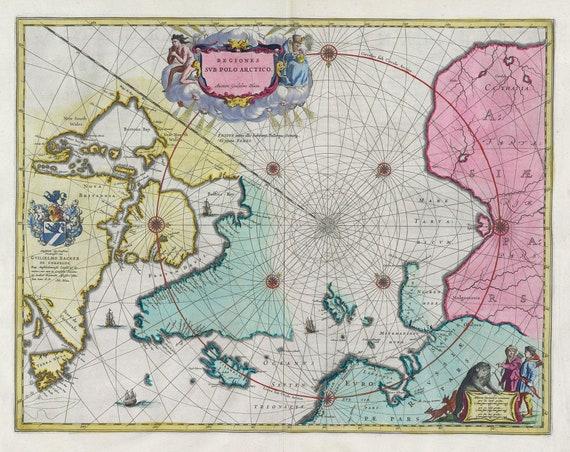 Polar Arctic North, Regiones Svb Polo Arctico. 1665. Blaeu auth., map on heavy cotton canvas, 50 x 70 cm