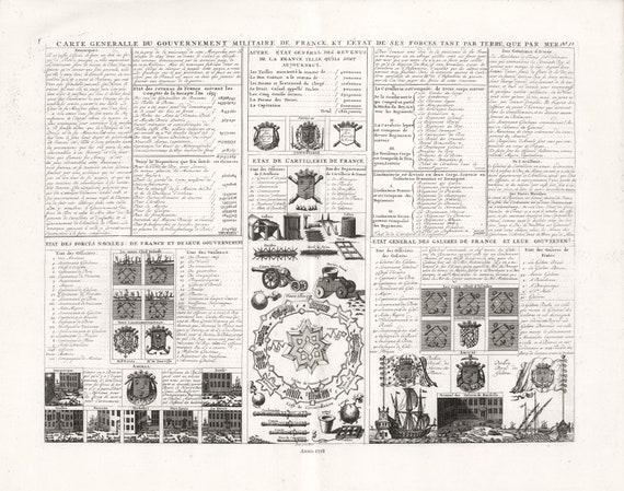 """Carte generalle du Gouvernement militaire de France, No. 32, 1718, chart on heavy cotton canvas, 22x27"""" approx."""