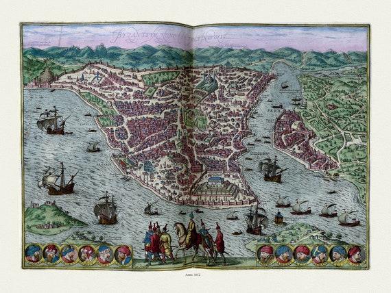 "Turkish Empire: Byzantivm, nunc Constantinoplis.1612.Braun et Hogenburg auth., map on heavy cotton canvas, 50x70cm (20 x 25"") approx."