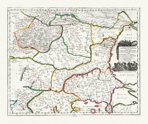 """Danube: Sanson, Cours du Danube (Heart of the Danube, Romania, Bulgaria, Serbia, Moldavia, 1665 , map on heavy cotton canvas, 22x27"""" approx."""