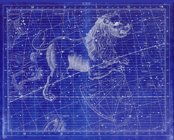 """Leo, 1729,  Flamsteed auth. Cyanotype, celestial map on heavy cotton canvas, 50 x 70cm, 20 x 25"""" approx."""