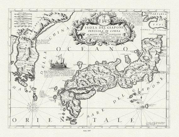 Japan: Isola del Giapone e penisola de Corea,1697. auth. Coronelli et Accademia cosmografica degli Argonauti, map on canvas, 50x70cm approx.
