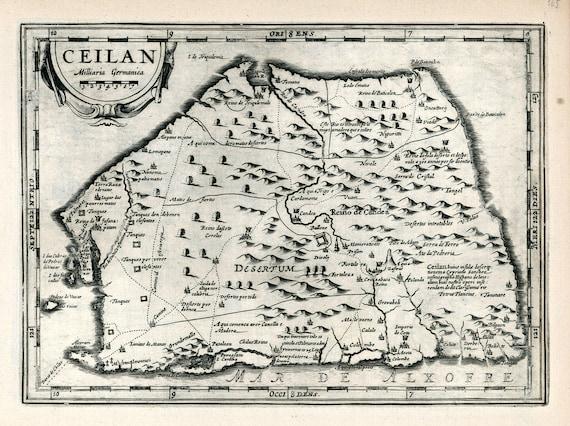 "Asia: Sri Lanka, Ceylon, Ceilan. 1636. Mercator et al. auth., map on heavy cotton canvas, 50x70cm (20 x 25"") approx."
