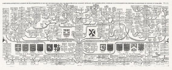 """Carte genealogique de la maison de Plantagenette et des Ducs de Normandie, No. 47, 1720, chart on heavy cotton canvas, 22x27"""" approx."""
