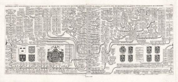 """Nouvelle carte genealogique de la maison royale de France, No. 27.  1718, Chart on heavy cotton canvas, 22x27"""" approx."""