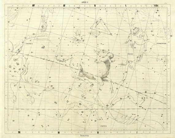 """Aries, 1729, Flamsteed auth., celestial map on heavy cotton canvas, 50 x 70cm, 20 x 25"""" approx."""