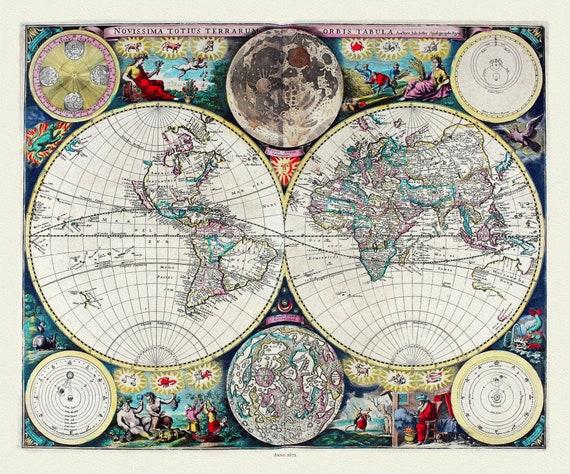 "John Sellers, Novissima Totius Terrarum )rbis Tabula, from Atlas Maritimus, 1672, map on heavy cotton canvas, 22x27"" approx."