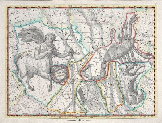 """Celestial XXIV, 1801, Bode auth., map on heavy cotton canvas, 50 x 70cm, 20 x 25"""" approx."""