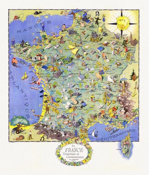 """La France, Touristique et Gastronomique, Edition Jacques-Petit, 1948 , map on heavy cotton canvas, 22x27"""" approx."""