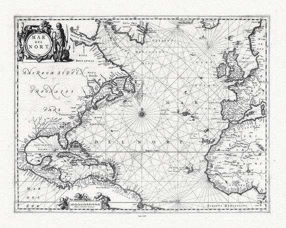 "Atlantic Ocean: Jansson, Mar del Nort, 1650, map on heavy cotton canvas, 22x27"" approx."