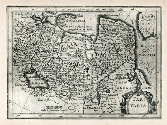 "Russia: Tartaria. 1636. Mercator et al. auth., map on heavy cotton canvas, 50x70cm (20 x 25"") approx."