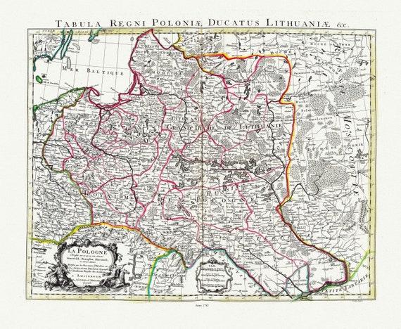 """Poland: Delisle, Covens et Mortier, La Pologne, 1742, map on heavy cotton canvas, 22x27"""" approx."""