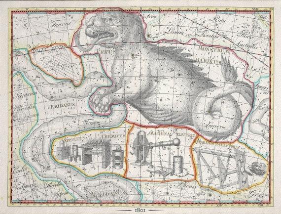 "Celestial XXVI, 1801, Bode auth., map on heavy cotton canvas, 50 x 70cm, 20 x 25"" approx."