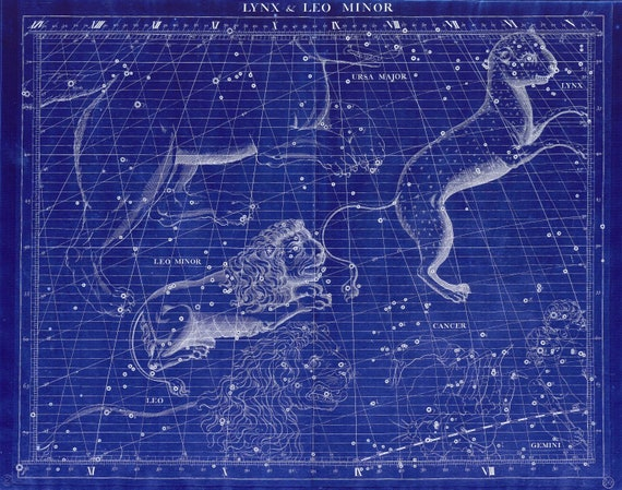 """Lynx & Leo Minor, 1729,  Flamsteed auth. Cyanotype, celestial map on heavy cotton canvas, 50 x 70cm, 20 x 25"""" approx."""