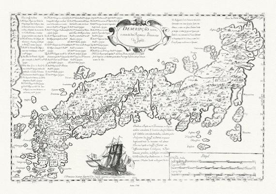 """Japan: Descripcao nova, e exacta dos Reynos, e Provincias do Japao, 1748, map on heavy cotton canvas, 50x70cm (20 x 25"""") approx."""