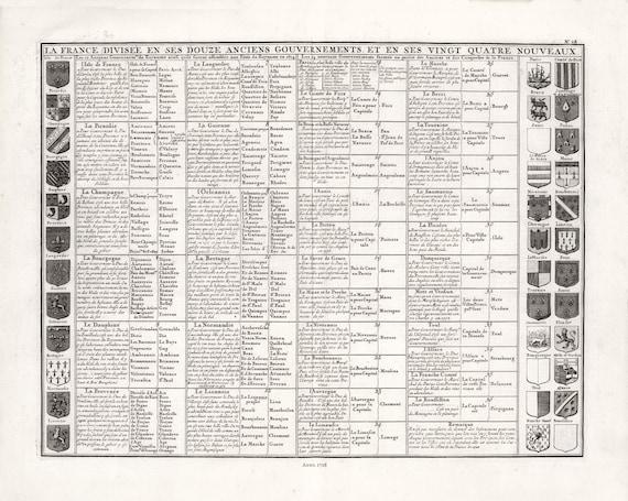 """Henri Chatelain-Tome I. No. 28. La France Divisee En Ses Douze Anciens Gouvernements, No. 28, 1718, on heavy cotton canvas, 22x27"""" approx."""