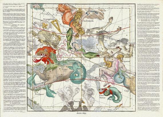 "Celestial Plate II, 1693, Pardies auth., celestial map on heavy cotton canvas, 50 x 70cm, 20 x 25"" approx."