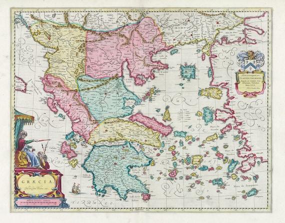 Mediterranean, Graecia, 1665, Bleau auth., map on heavy cotton canvas, 50 x 70 cm