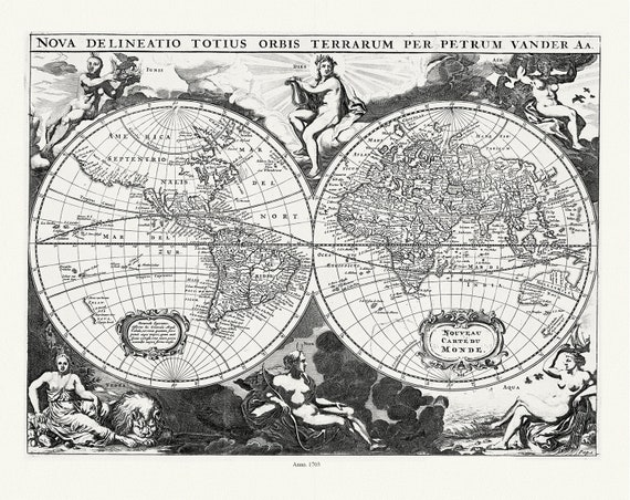 Aa, (Pieter va der, ), Nova Delineatio Totius Orbis Terrarum, 1703, Map on heavy cotton canvas, 22x27in. approx.