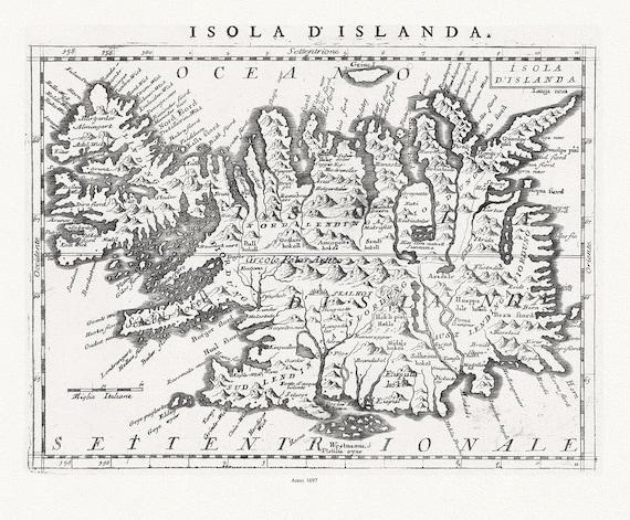 "Iceland: Coronelli, Vincenzo,  Isola d' Islanda, 1697, map on heavy cotton canvas, 22x27"" approx"