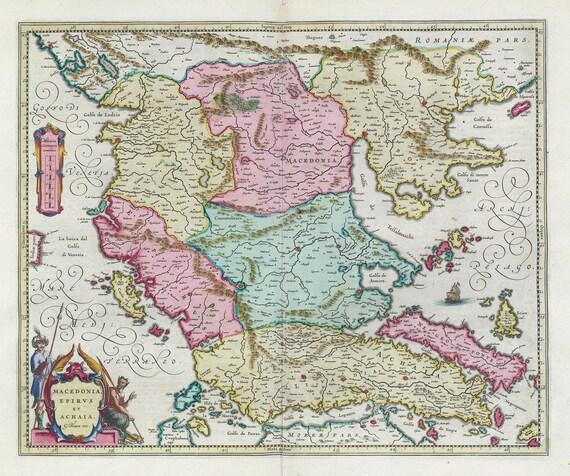 Mediterranean, Graecia, Macedonia, Epirvs et Achaia,1665, Bleau auth.