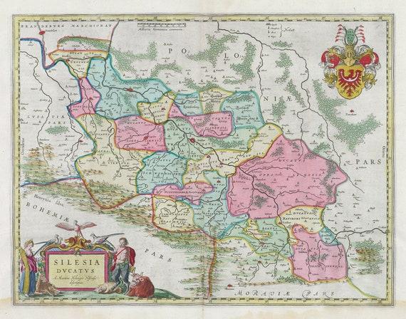 Poland: Poloniae, Silesia Dvcatvs, 1665, Bleau auth., map on heavy cotton canvas, 50 x 70 cm