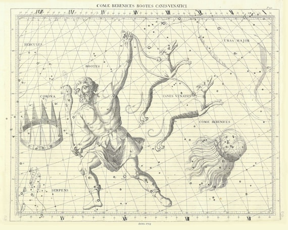 Comae Berenices, Bootes, Canes Venatici, 1729, Flamsteed auth.