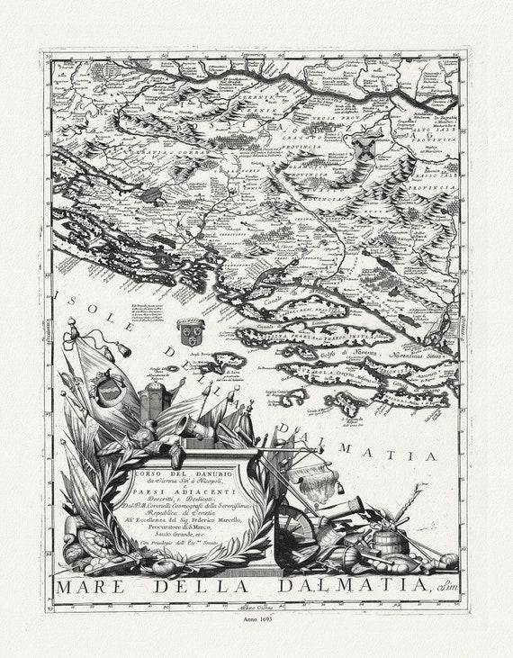 """Danube: Coronelli (Vicenzo 1650-1718), Corso del Danubio (Planche 1 de 6), 1693, map on heavy cotton canvas, 22x27"""" approx."""