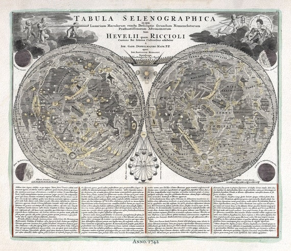 """Tabula Selenographica, 1742, Doppelmayr auth.,celestial map on heavy cotton canvas, 50 x 70cm, 20 x 25"""" approx."""