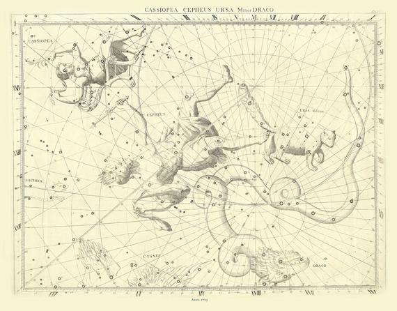"Cassiopea, Cephus, Ursa Minor, Draco, 1729, Flamsteed auth., celestial map on heavy cotton canvas, 50 x 70cm, 20 x 25"" approx."