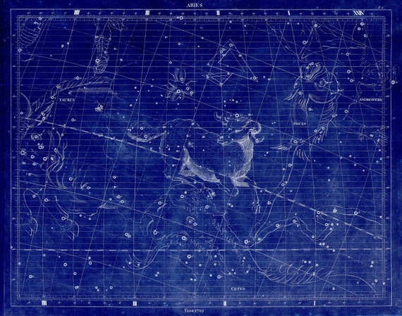 """Aries, 1729, Flamsteed auth. Cyanotype , celestial map on heavy cotton canvas, 50 x 70cm, 20 x 25"""" approx."""