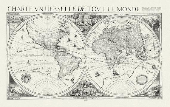 Berey, Un Charte universelle de tout le monde, 1650, Map on heavy cotton canvas, 22x27in. approx.