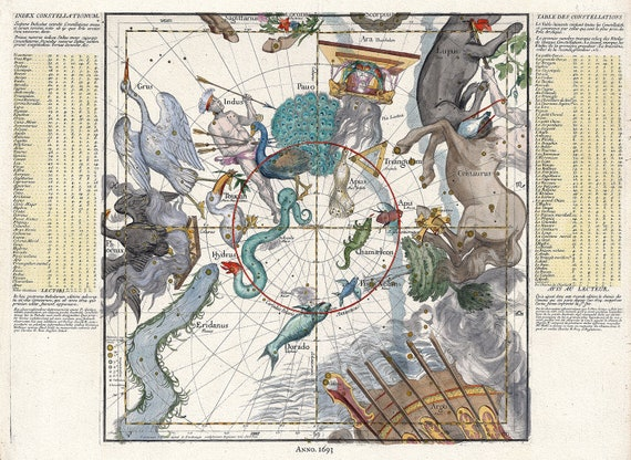 """Celestial Plate VI, 1693,Pardies auth., celestial map on heavy cotton canvas, 50 x 70cm, 20 x 25"""" approx."""