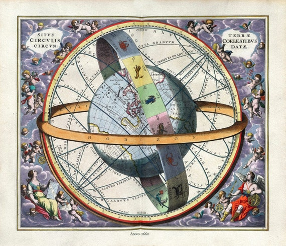 "Cellarius, Harmoni Macrocosmica XI, 1660, map on heavy cotton canvas, 50 x 70cm, 20 x 25"" approx."