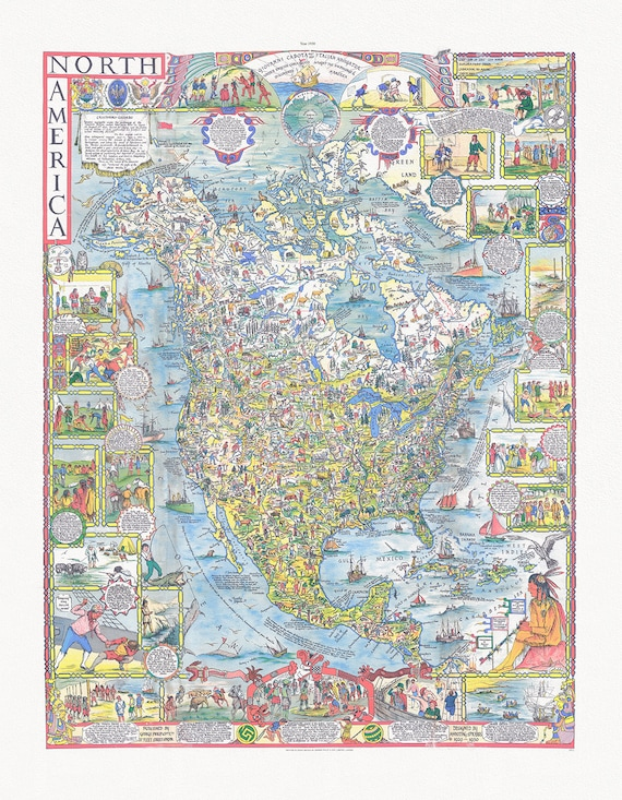 """Spilhaus, North America, 1930,, map on heavy cotton canvas, 22x27"""" approx."""