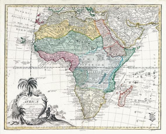 Euler, Sauerbrey et Rhode, Tabula Geographica Africae, 1753