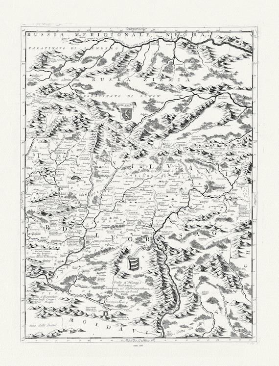 """Danube: Coronelli (Vicenzo 1650-1718), Corso del Danubio (Planche 6 de 6), 1693 , map on heavy cotton canvas, 22x27"""" approx."""