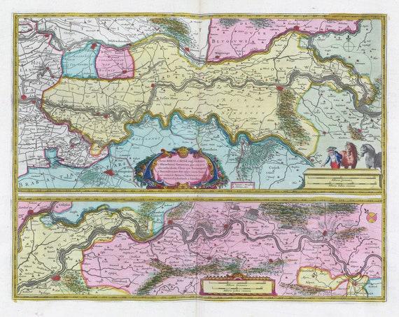 Low Countries, Tractus Rheni et Mosae totusq Vahalis 1665, Blaeu auth., map on heavy cotton canvas, 50 x 70 cm