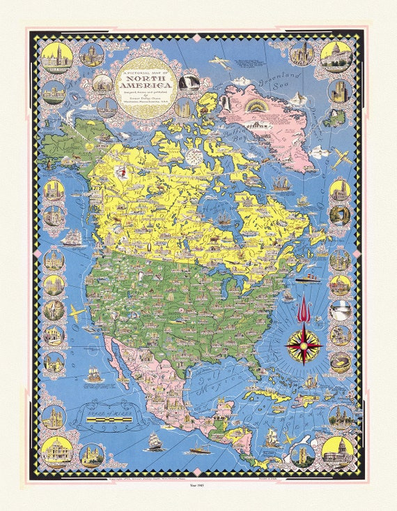 """Chase, A pictorial map of North America, 1945, map on heavy cotton canvas, 22x27"""" approx."""