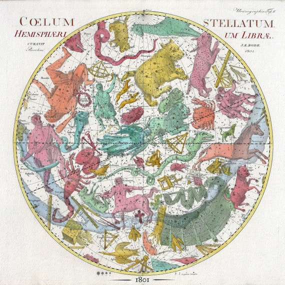 """Celestial Shere II, 1801, Bode auth., map on heavy cotton canvas, 50 x 70cm, 20 x 25"""" approx."""