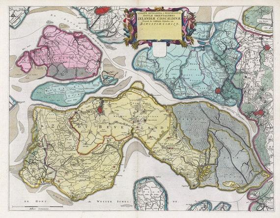 Low Countries, Vtraqve Bevelandia, & Wolfersdyck,1665, Blaeu auth., map on heavy cotton canvas, 50 x 70 cm