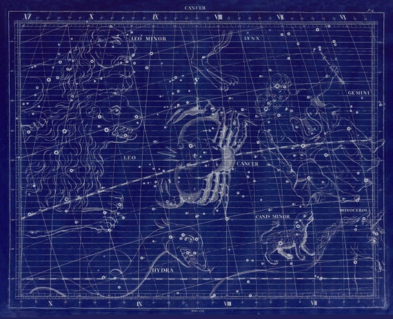 """Cancer, 1729,  Flamsteed auth. Cyanotype, celestial map on heavy cotton canvas, 50 x 70cm, 20 x 25"""" approx."""
