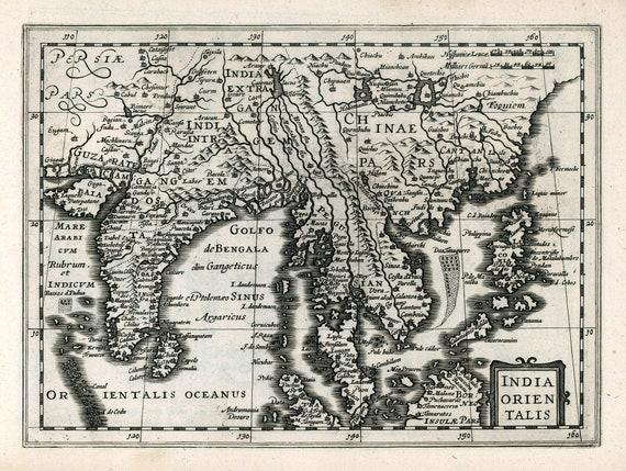 "Asia: India Orientalis. 1636. Mercator et al. auth., map on heavy cotton canvas, 50x70cm (20 x 25"") approx."