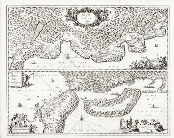 """Japan: Route d'Osacca a Iedo. Route de Nangasacqui a Osacca par Eau. 168, map on heavy cotton canvas, 50x70cm (20 x 25"""") approx."""