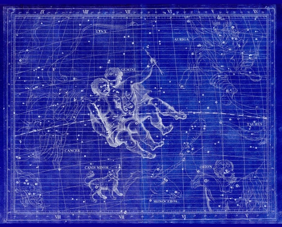 """Gemini, 1729,  Flamsteed auth. Cyanotype, celestial map on heavy cotton canvas, 50 x 70cm, 20 x 25"""" approx."""